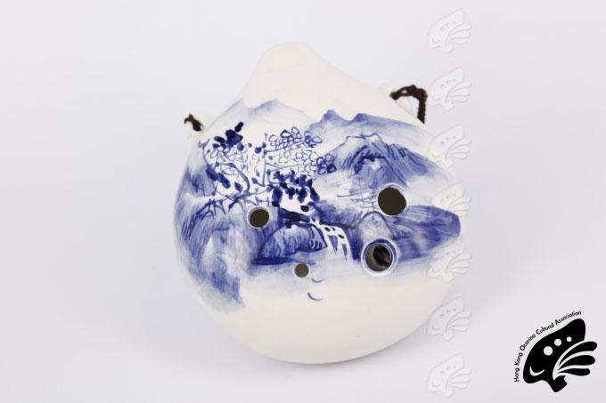 風雅陶笛6孔中音青花瓷山水(正)